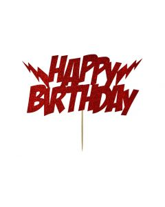 Cake Topper - Happy Birthday - Lightening Bolts