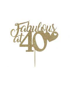 Cake Topper - Fabulous at 40 - Light Gold
