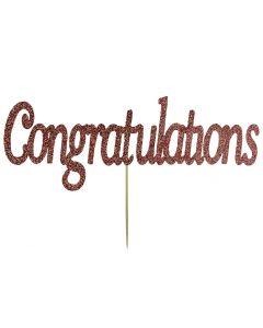 Cake Topper - Congratulations - Rose Gold