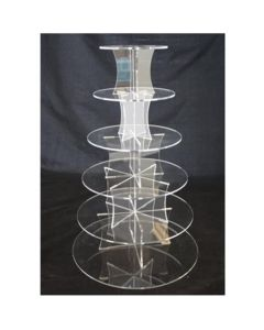 6 Tier Round Perspex Cupcake Stand 4mm