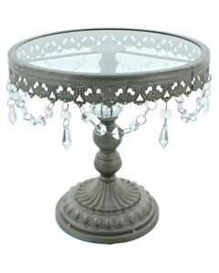 11 Inch Silver Shabby Chic Cake Stand