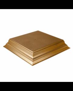 "Square Gold Bright Cake Stand - 14"""