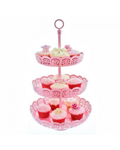 Cake Lace  3 Tier Baby Pink - Metal Cupcake Display Stand