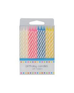 24 Candy Stripe Candles - single