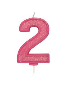 Pink Sparkle Numeral Candle - Number 2 - 70mm