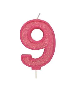 Pink Sparkle Numeral Candle - Number 9 - 70mm - single