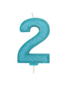 Blue Sparkle Numeral Candle - Number 2 - 70mm - single