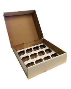 12 Cupcake (CORRUGATED) White Box with 6cm Dividers (pack of 5)
