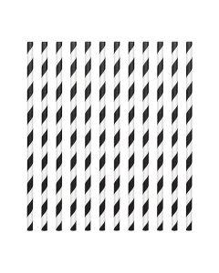 Black Candy Stripe Paper Straws