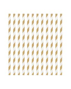 Gold Candy Stripe Paper Straws