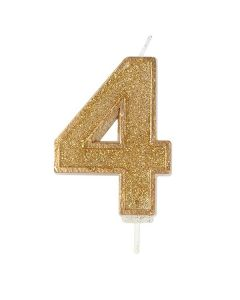 Gold Sparkle Numeral Candle - Number 4 - 70mm - single