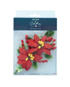 House of Cake - Poinsettia Wired Sugar Flower Spray - 140mm