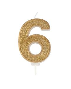 Gold Sparkle Numeral Candle - Number 6 - 70mm - single