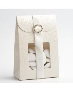 14744 - Antique white Pelle Sacchetto with window 90x45x130mm