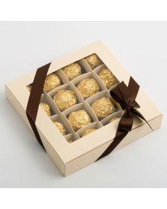 37793 - Sphere Cream Chocolate box 160x160x30mm