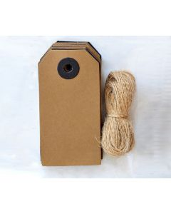 Kraft & Black Tags with Jute String (pack of 24)