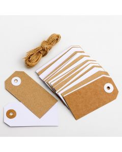 Kraft & White Tags with Jute String (pack of 24)