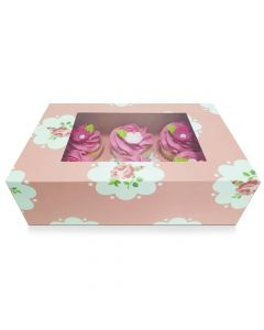 6 Cupcake Rose Pink Window Box with 6cm Dividers (pack of 5)