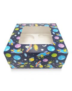 4 Cupcake Blue Spaceship Window Box with 6cm Dividers (pack of 10)