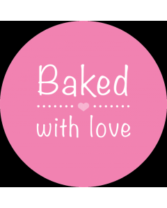 Round Pink 'Baked With Love' Sticker Labels - Roll of 100