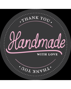 Round Black 'Handmade With Love' Sticker Labels - Roll of 100