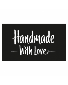 Rectangle Black 'Handmade With Love' Sticker Label - Roll of 100