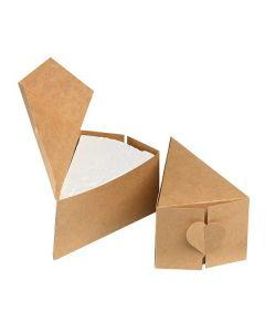 House Of Cake Heart Kraft Brown Cake Slice Box - 10 Pack
