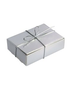 Silver With Silver Elastic Ribbon Wedding Cake Box