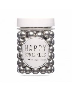 Happy Sprinkles `Metallic Silver Medium Edible Choco Sprinkles` 90g
