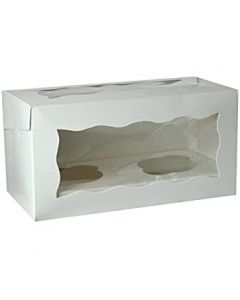 Double Cupcake White Window Box with 6cm Dividers (pack of 10)