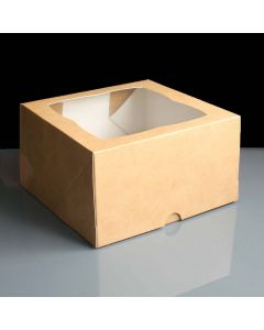 4 Cupcake Kraft Window Box with 6cm Dividers (pack of 10)
