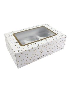 6 Cupcake Metallic Spot Window Box with 6cm Dividers (pack of 10)