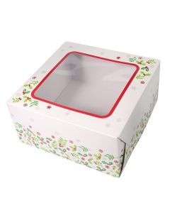 """6""""X6""""X4"""" Christmas Holly Design Cake Box (pack of 5)"""